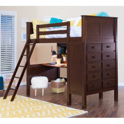 McKenzie Twin Loft Bed with Dresser Color: Coffee