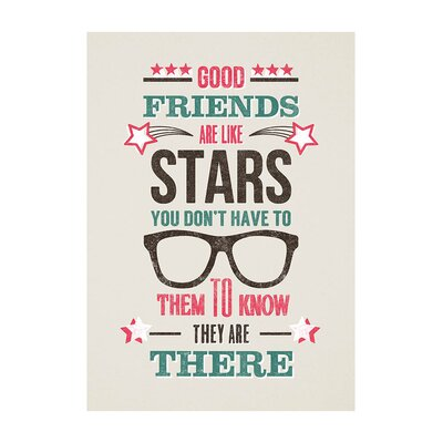 East End Prints Friends Are Like Stars Typography