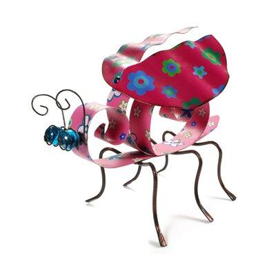 Blossom Bucket Metal Ladybug with Daisy Figurine