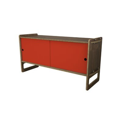 Key Accent Cabinet Color: Red, Finish: Walnut