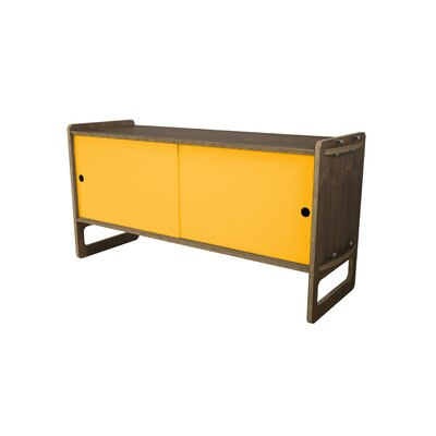 Key Accent Cabinet Color: Saffron Yellow, Finish: Walnut