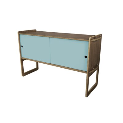 Key Accent Cabinet Color: Light Blue, Finish: Walnut