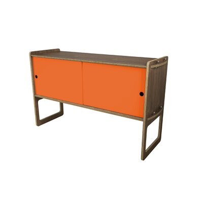 Key Accent Cabinet Color: Orange, Finish: Walnut
