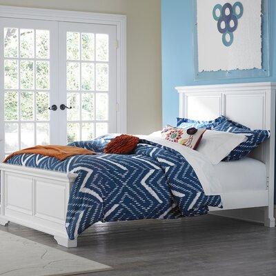 Javin Traditional Wood Panel Bed Color: White, Size: Full