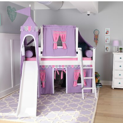 Wow Loft Bed with Slide Tent and Curtains Bed Frame Color: White, Color: Purple