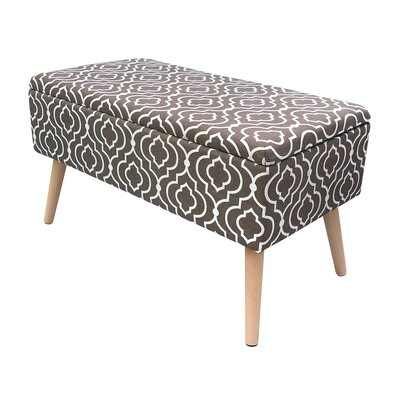 "Valdivia Mid Century Upholstered Storage Bench Size: 17"" H x 30"" W x 15"" D, Color: Brown"