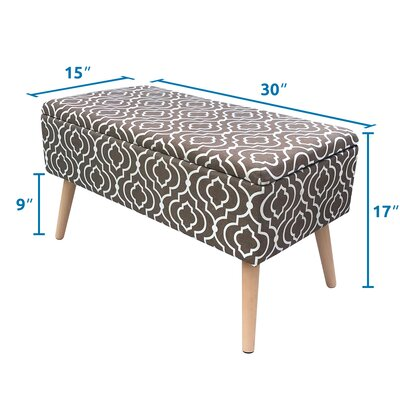 "Valdivia Mid Century Upholstered Storage Bench Size: 17"" H x 30"" W x 15"" D, Color: Gray"