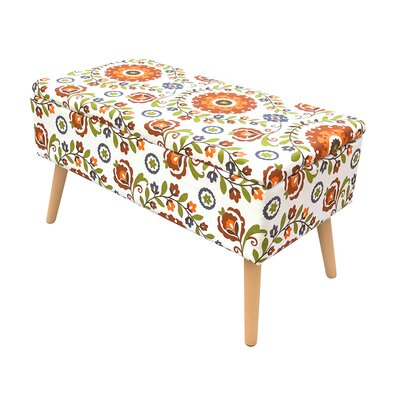 "Valdovinos Mid Century Upholstered Storage Bench Size: 17"" H x 30"" W x 15"" D, Color: Floral Cream"