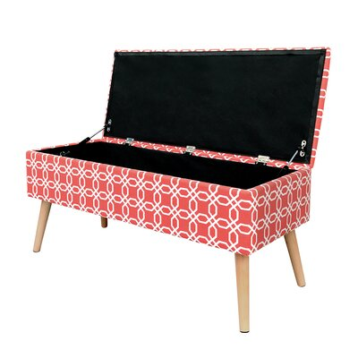 "Valdez Mid Century Upholstered Storage Bench Size: 17"" H x 30"" W x 15"" D, Color: Blue"