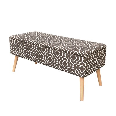 "Valdivia Mid Century Upholstered Storage Bench Size: 17"" H x 37"" W x 15"" D, Color: Brown"