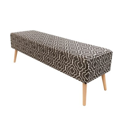 """Valdivia Mid Century Upholstered Storage Bench Size: 17"""" H x 52"""" W x 15"""" D, Color: Brown"""