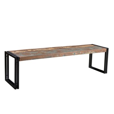 "Leah Wood Bench Color: Reclaimed, Size: 17.5"" H x 50"" W x 15.75"" D"