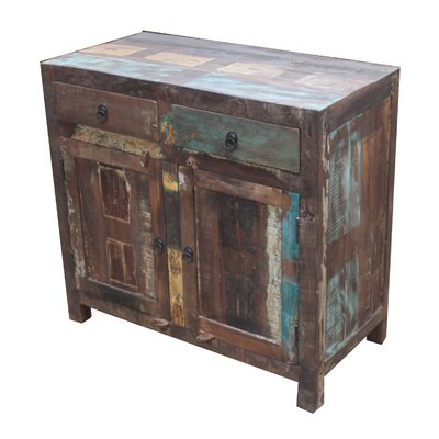 Gracie Reclaimed Wood 2-Door 2 Drawer Sideboard Accent Cabinet