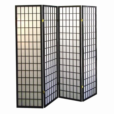 Battle Creek 4 Panel Room Divider Finish: Black