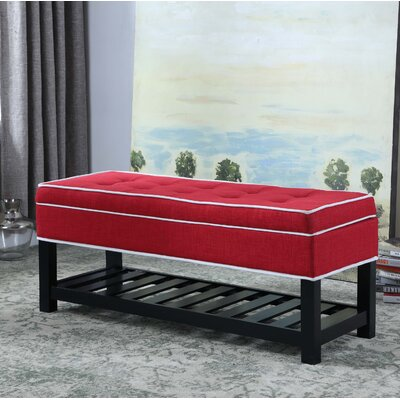 Chastain Piping Tufted Shoe Upholstered Storage Bench Upholstery: Red