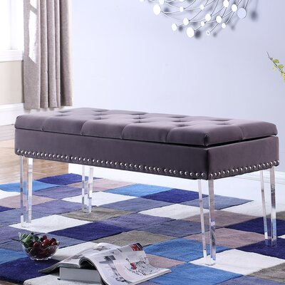 Esmeyer Tufted Mid-Century Nailhead Trim Upholstered Storage Bench Upholstery: Gray