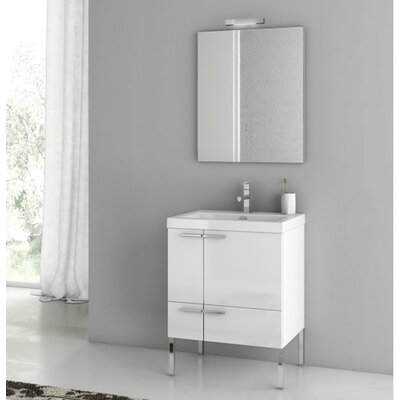 "New Space 24"" Single Bathroom Vanity Set with Mirror Base Finish: Glossy White"