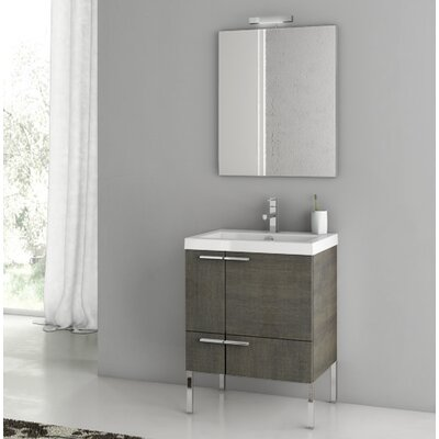 "New Space 24"" Single Bathroom Vanity Set with Mirror Base Finish: Gray Oak Senlis"