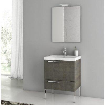 "New Space 24"" Single Bathroom Vanity Set with Mirror Base Finish: Gray Oak Senlis"
