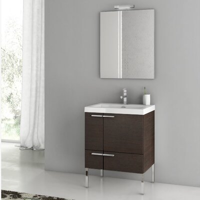 "New Space 24"" Single Bathroom Vanity Set with Mirror Base Finish: Wenge"