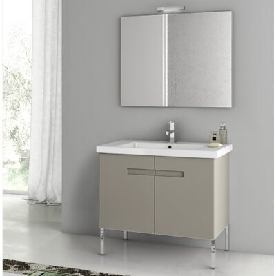 "New York 34"" Single Bathroom Vanity Set with Mirror Base Finish: Matte Canapa"