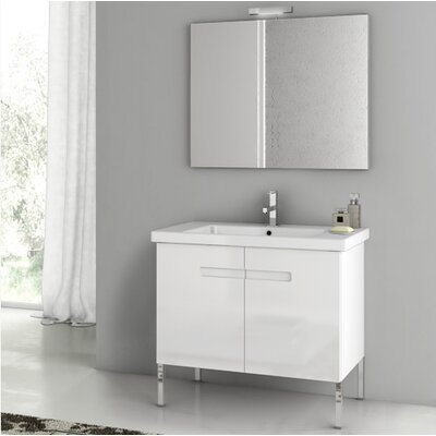 "New York 34"" Single Bathroom Vanity Set with Mirror Base Finish: Glossy White"