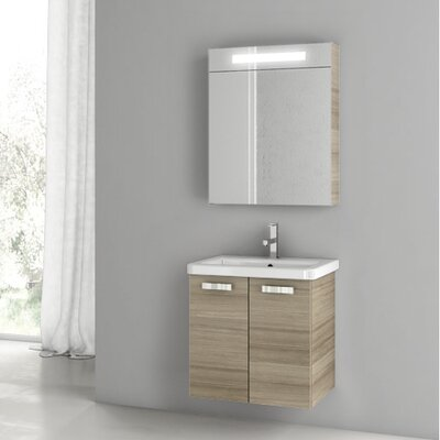 "City Play 32"" Single Bathroom Vanity Set with Mirror Base Finish: Larch Canapa"