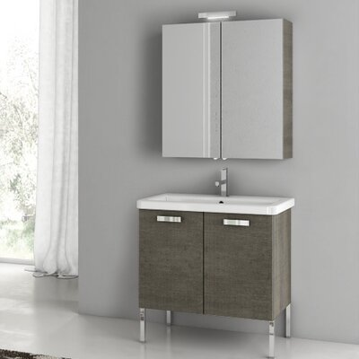 "City Play 32"" Single Bathroom Vanity Set with Mirror Base Finish: Gray Oak Senlis"