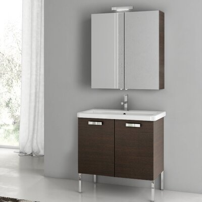 "City Play 32"" Single Bathroom Vanity Set with Mirror Base Finish: Wenge"