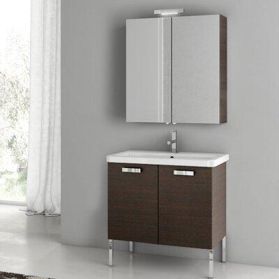 "City Play 32"" Single Bathroom Vanity Set with Mirror Base Finish: Wenge"
