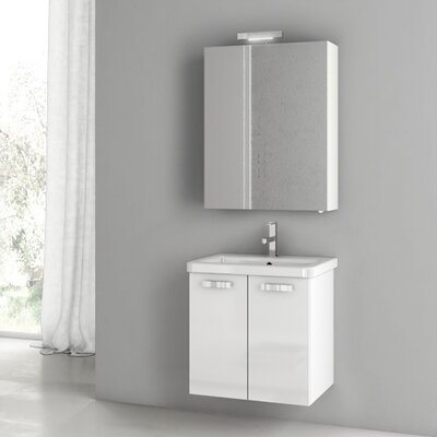 "City Play 24"" Wall-Mounted Single Bathroom Vanity Set Base Finish: Gray Oak Senlis"