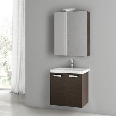 "City Play 24"" Wall-Mounted Single Bathroom Vanity Set Base Finish: Wenge"