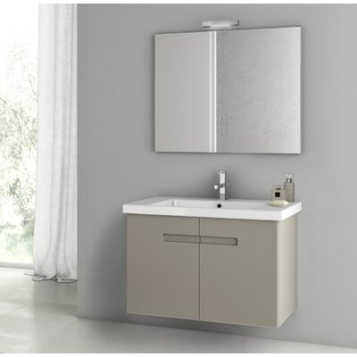 "New York 34"" Wall-Mounted Single Bathroom Vanity Set with Mirror Base Finish: Matte Canapa"