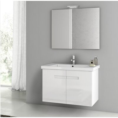 "New York 34"" Wall-Mounted Single Bathroom Vanity Set with Mirror Base Finish: Glossy White"