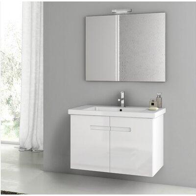 "New York 34"" Wall-Mounted Single Bathroom Vanity Set with Mirror Base Finish: Glossy White"