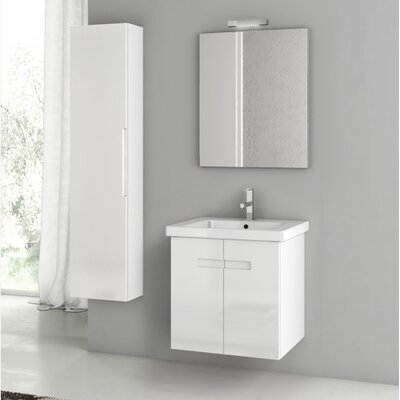 "New York 26"" Wall-Mounted Single Bathroom Vanity Set with Mirror Base Finish: Glossy White"