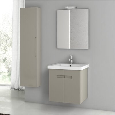 "New York 26"" Wall-Mounted Single Bathroom Vanity Set with Mirror Base Finish: Matte Canapa"