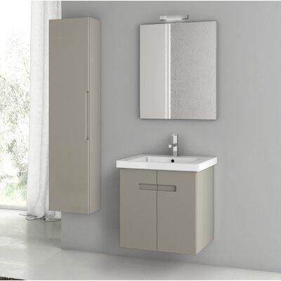 "New York 26"" Wall-Mounted Single Bathroom Vanity Set with Mirror Base Finish: Matte Canapa"