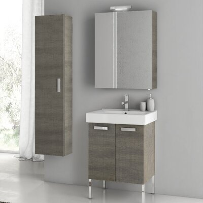 "Cubical 24"" Single Bathroom Vanity Set with Mirror Base Finish: Glossy White"