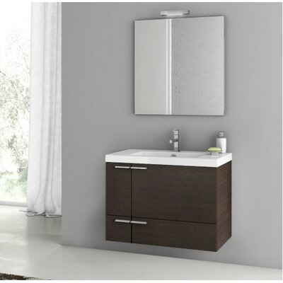 "Phinex 32"" Wall-Mounted Single Bathroom Vanity Set with Mirror"
