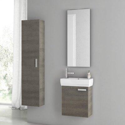 "Cubical 20"" Single Bathroom Vanity Set with Mirror Base Finish: Gray Oak"
