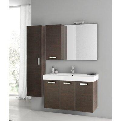 """Cubical 41"""" Single Bathroom Vanity Set with Mirror Base Finish: Wenge"""