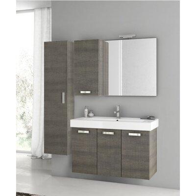 "Cubical 41"" Single Bathroom Vanity Set with Mirror Base Finish: Gray Oak"