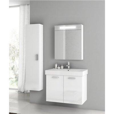 """Cubical 27"""" Single Bathroom Vanity Set Base Finish: Glossy White"""
