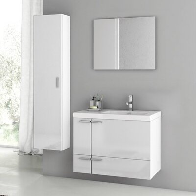 """New Space 32"""" Single Bathroom Vanity Set with Mirror Base Finish: Glossy White"""