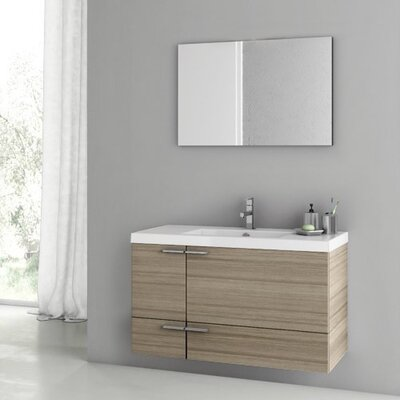 """New Space 39"""" Single Bathroom Vanity Set with Mirror Base Finish: Larch Canapa"""