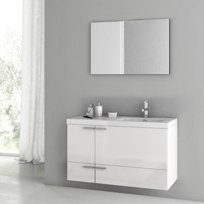"""New Space 39"""" Single Bathroom Vanity Set with Mirror Base Finish: Glossy White"""