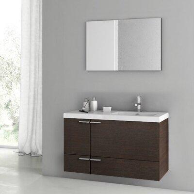 "New Space 39"" Single Bathroom Vanity Set with Mirror Base Finish: Wenge"