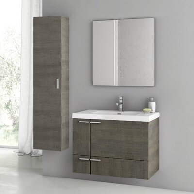 "New Space 32"" Single Bathroom Vanity Set with Mirror Base Finish: Gray Oak"