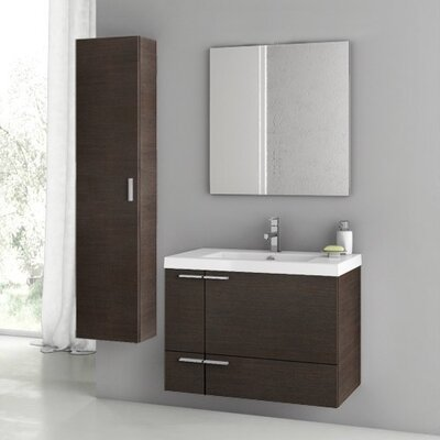 "New Space 32"" Single Bathroom Vanity Set with Mirror Base Finish: Wenge"